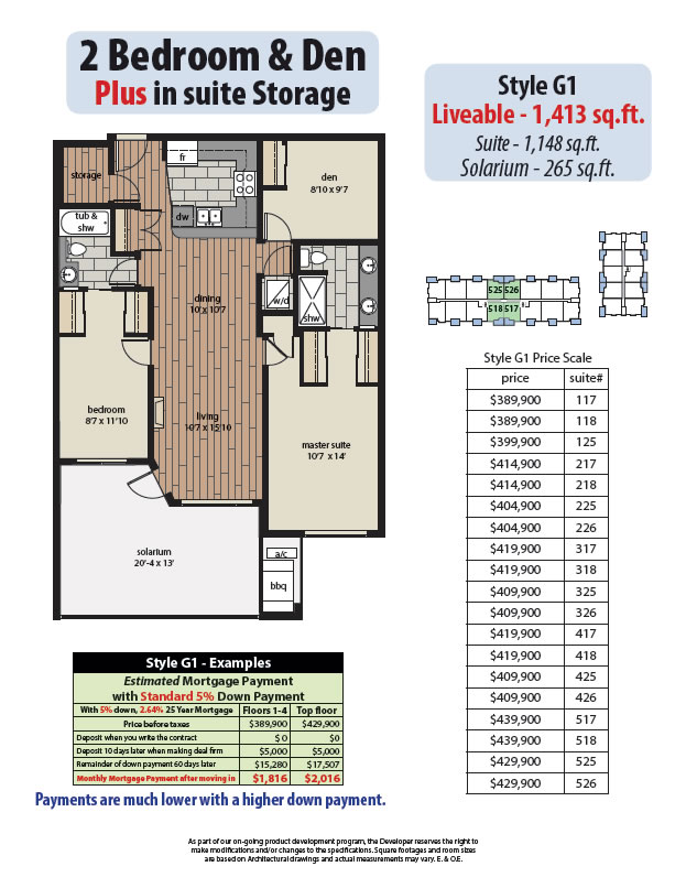 2 Bedroom Den Plans Yorkson Creek