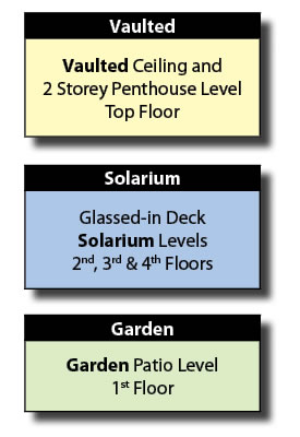 Vaulted, Solarium and Garden Levels